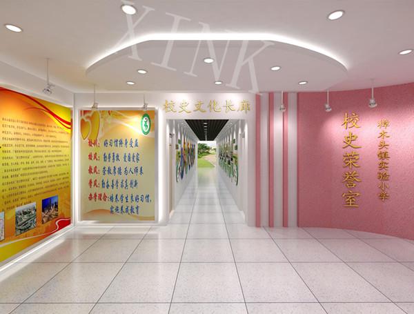 实验小学校史文化长廊在学校教学校走廊,过道,教室内墙壁上悬挂图片